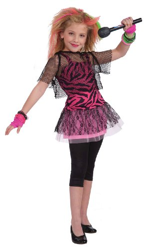 [Forum Novelties 80's Rock Star Child Girl's Costume, Medium] (Halloween Costumes With Pink Hair)