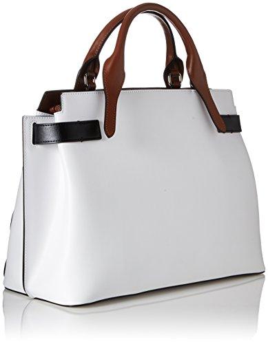 Tosca Blu Damen Michelle Henkeltasche, 15x25.5x35 cm Mehrfarbig (White)