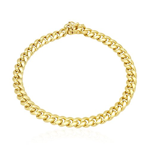 10k Yellow Gold 7mm Miami Cuban Hollow Link Bracelet Box Clasp 8.5'' 9'', 8.5 by WJD Exclusives