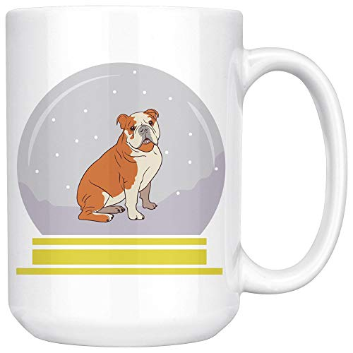 Snow Globe Bulldog White Coffee Mug 15 oz, Funny Gifts for Dog Lovers