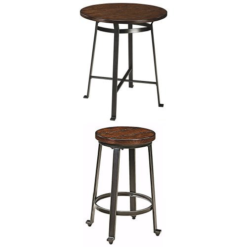 Ashley Furniture Signature Design - Challiman Dining Room Bar Set - Table and Four Bar Stools- Counter Height - Round - Rustic ()