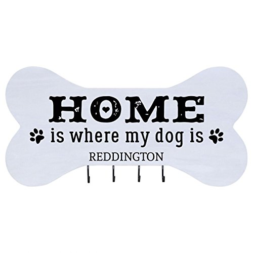 Personalized Home is Where Wall Mounted Dog Bone Pet Leash Rack,Dog Collar Holder New Home Decor Gift ideas and 4 hooks 16