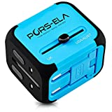 PORS-ELA 2.4A Dual USB International Travel Power Adapter with Safety Fused European, UK, US, AU Plugs, Spare Fuse & Gift Pouch - Super Versatile & Durable (Blue)
