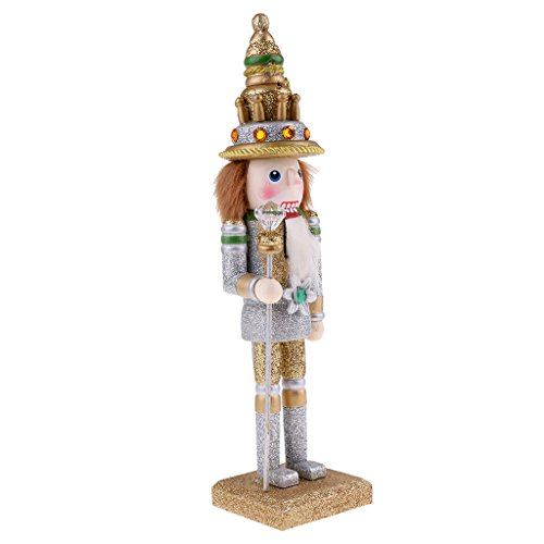 MagiDeal Handpainted 30cm Wooden Glittery Nutcracker King Soldier Figures Figurine Home Ornaments Kids Silver by MagiDeal