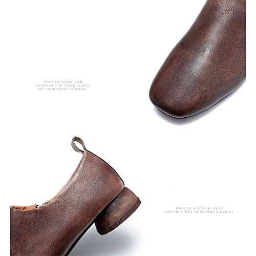 A Las Para Profundos Nuevo Mujeres De Retro Simple Bajo Solo Cuero Gray Ayudar Heel Yxlong Otoño Zapatos 4z8wq6H6Y