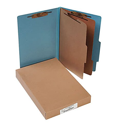 16026 8 1/2'' x 14'' Sky Blue 6-Section Pressboard Classification Folder with Prong Fasteners and 2/5 Cut Tab, Legal - 10/Box