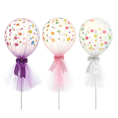 (ARTSTORE 12 inch Tulle Balloons,Latex Dot Latex Dot Balloons with Column Base Kit for Wedding Party Decoration Baby Shower Birthday 3pcs,Pink)