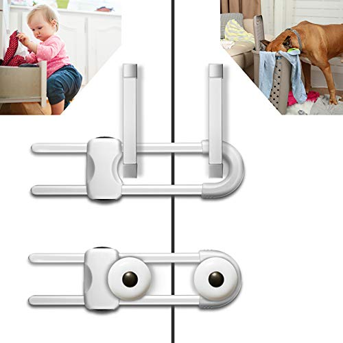 6PCS Sliding Cabinet Locks, U-Shaped Child Safety Locks, Multifunctional Cabinet Handle Lock for Drawers, refrigerators, and Closets