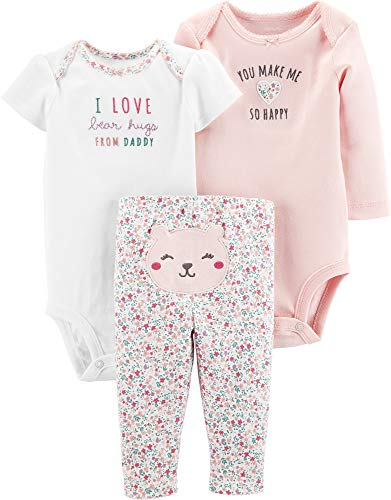 Carter's Baby Girls' 3-Piece Little Character Set (Pink/Happy/Bear Hugs, 3 Months)