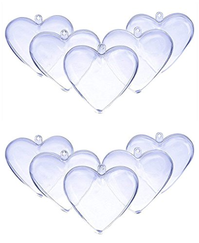 Ornament Beads - DOYOLLA 80mm Clear Plastic Acrylic Heart Shape Fillable Christmas Tree Ornaments DIY Bath Bomb Molds - Pkg of 10 (Clear)