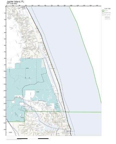 Amazon Com Zip Code Wall Map Of Jupiter Island Fl Zip Code Map Not