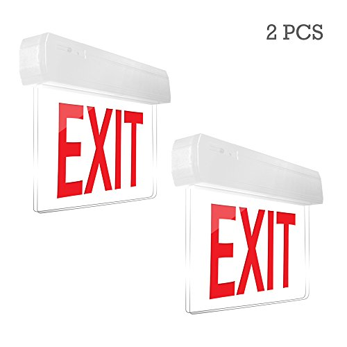 eTopLighting [2 Pack] Edge Lit Exit Sign LED Light Panel, Red Lettering, Battery Backup, Transparent See Through, Mount on Wall and Ceiling, Rotary Surface Mounting, AGG2125 (Lettering Battery Backup)
