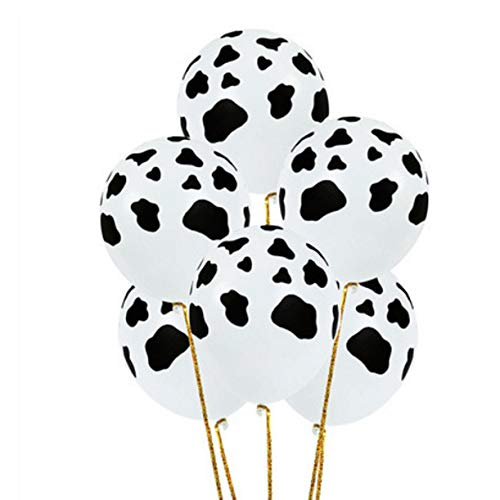 STUDYY 100 Pieces 12 Inches Cow Print Balloons Latex Farm Animal Black and White for Children's Birthday Home Craft Decoration]()