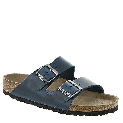 Birkenstock Men's Arizona Soft Footbed Sandal Blue Oiled Leather Size 43 M EU