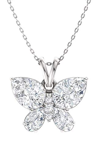 Diamondere Natural and Certified White Topaz and Diamond Butterfly Petite Necklace in 14k White Gold | 1.11 Carat Pendant with Chain