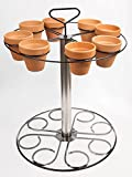 SSDI Brushed Stainless Steel Plant Stand ~ Holds eight 4 inch pots ~ 20 inch height ~ Carrying Handle and Drip Pan included