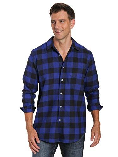 Noble Mount Mens 100% Cotton Flannel Shirt - Gingham Checks - Blue-Black - M ()