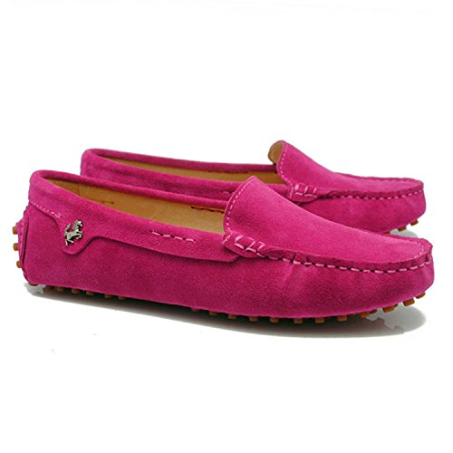 Minishion Tyb9601 Mocasines De Punta Redonda Para Mujer Zapatos De Barco Mocasines De Ballet Púrpura