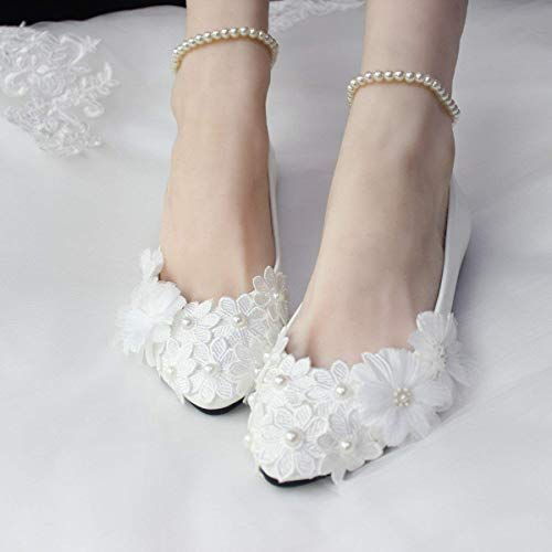 discount shop look out for in stock Amazon.com: 2017 Stylish Pearls Flat Wedding Shoes For Bride 3D ...