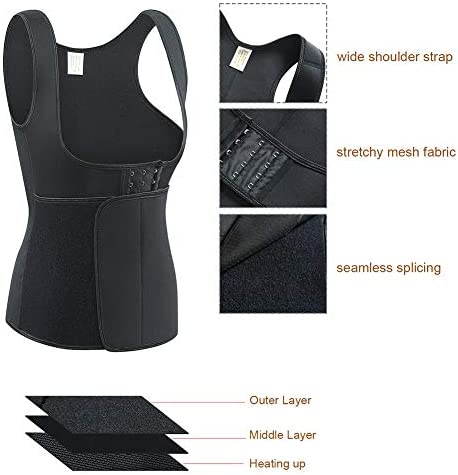 Rosybeat Sweat Vest for Women Neoprene Sauna Suit Waist Trainers Corset for Weight Loss Workout Tank Tops Slimming Body Shaper with Adjustable Velcro Closure
