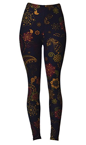 Brushed Leggings (Bronze Olive Paisley)