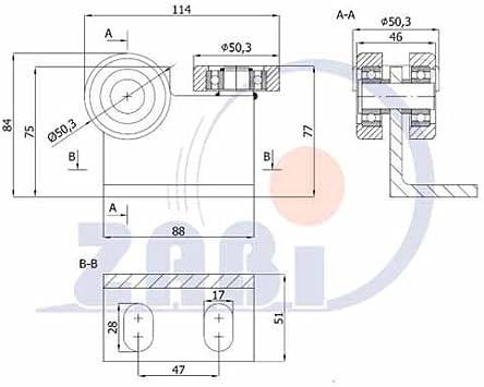 ZAB de S unidad carro unidad rollo Perfil Dimensiones: 50 x 55 x 2,5 – Puerta Puerta Corredera Roll Jardín: Amazon.es: Bricolaje y herramientas