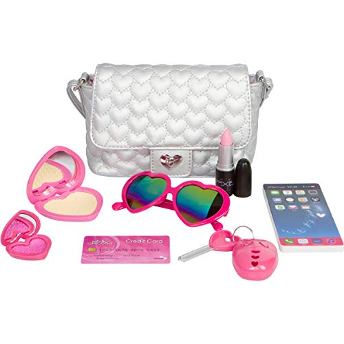 Girls Silver Handbag (PixieCrush Pretend Play Kid Purse Set for Girls with Handbag, Pretend Smart Phone, Keys with Remote, Pretend Makeup, Lipstick – Interactive & Educational Toy (Silver Hearts, Standard))