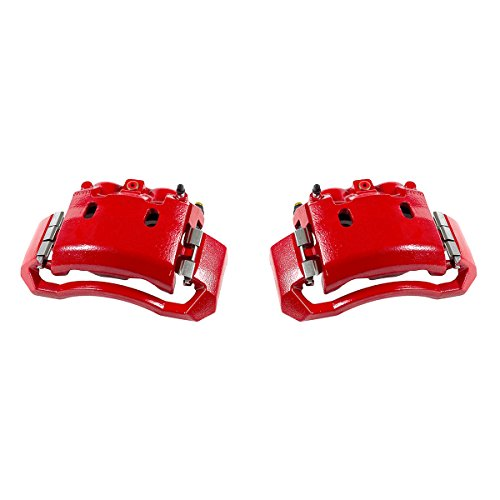 CCK01568 [ 2 ] FRONT Performance Grade Red Powder Coated Semi-Loaded Caliper Assembly Pair Set -