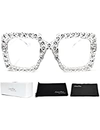 Elton Square Diamond Rhinestone Sunglasses Novelty...