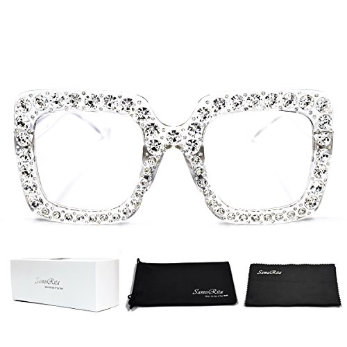 - SamuRita Elton Square Diamond Rhinestone Sunglasses Novelty Oversized Celebrity Shades(Clear Frame/Clear Lens)