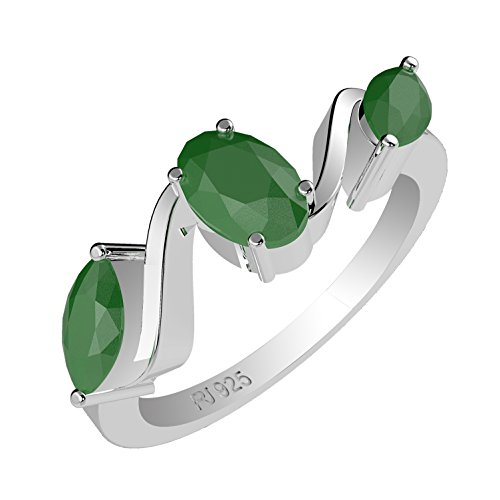 1.25ctw,Genuine Emerald 4x6mm Oval & Solid .925 Sterling Silver Ring (Size-8)