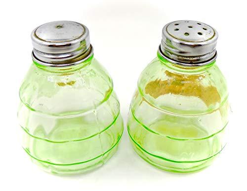 (Antique Squatty Shaker Set,Block optic,Depression Glass,Light Green,Metal Tops,)