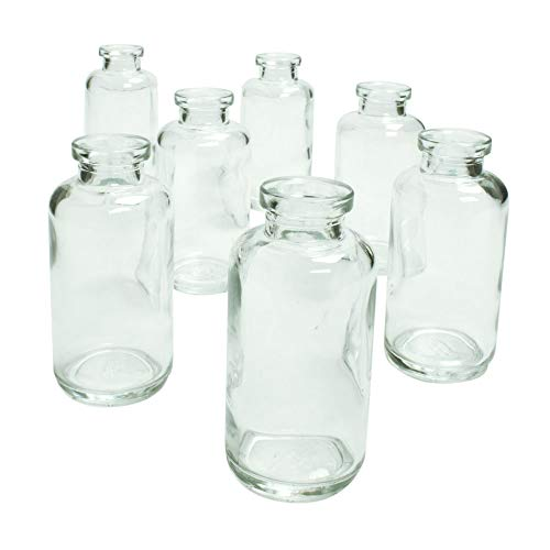 Couronne Company C6535-N Glass Bud Vase, Cylinder Bottle, 2 in. Round x 4.25 in, Clear, 12 pk