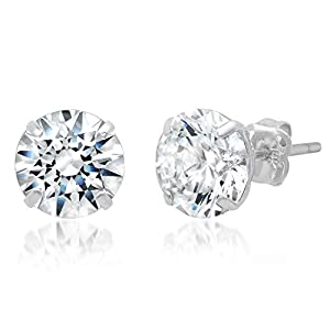 Best Epic Trends 41zAYeeLANL._SS300_ 14k Solid Gold ROUND Stud Earrings with Genuine Swarovski Zirconia | 0.50 to 3.0 CTW | With Gift Box