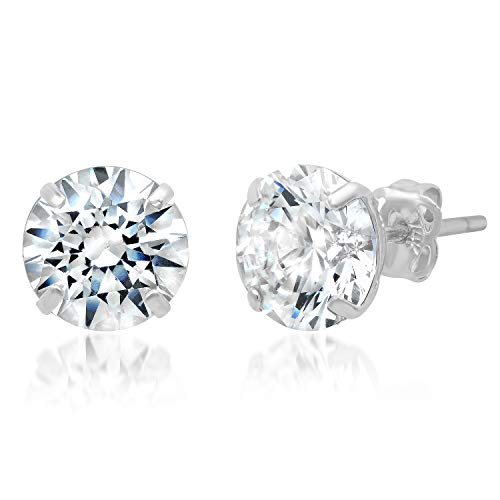 (14k Solid White Gold ROUND Stud Earrings with Genuine Swarovski Zirconia | 3.0 CT.TW. | With Gift Box)