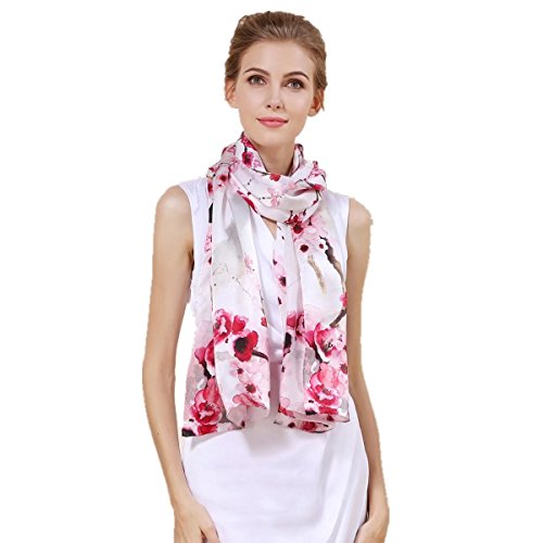 (Women's 100% Charmeuse Mulberry Silk Long Scarf For Gift Hair Ladies Shawls Floral And Butterfly Scarf)