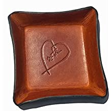 3rd Anniversary Gift Leather Tray. Distressed Leather Valet with Heart.