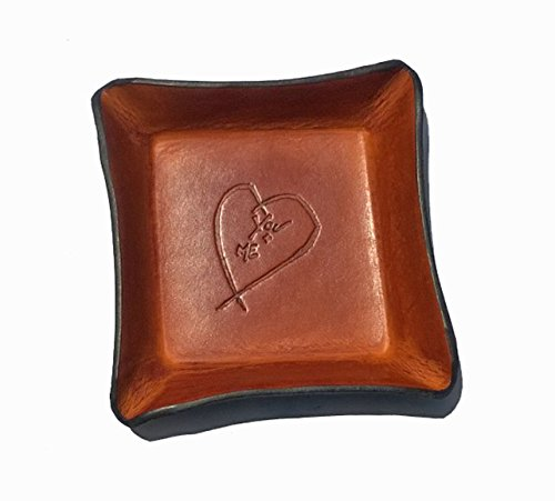 Twin Saints 3rd Leather Tray. Distressed Leather Valet with Heart. ()