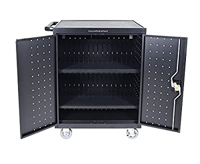 """DMD Deluxe Mobile Charging and Storage Cart, Holds 32 Devices with up to 17"""" Display, Multiple iPad, Tablet, Laptop, Notebook and Chromebook Charging Station / Security Cabinet with Timer"""