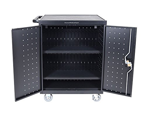 DMD Deluxe Mobile Charging and Storage Cart, Holds 32 Devices with up to 17