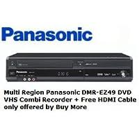Enregistreur Combi DVD VHS multi-régions Panasonic DMR-EZ49VEBK + Câble HDMI plaqué or - Offert exclusivement par Buy More