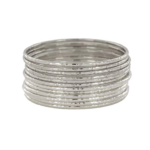 - and lovely Plus Size Rhodium Plated Bamboo Texture Bangle Bracelet - Set of 12 (Silver)