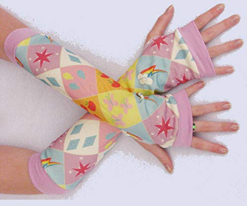 MLP cutie mark pastel arm warmers fingerless gloves ()