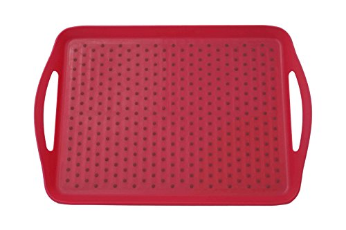 ChopMaster Rectangular Serving Tray with Handle (Large, Red)