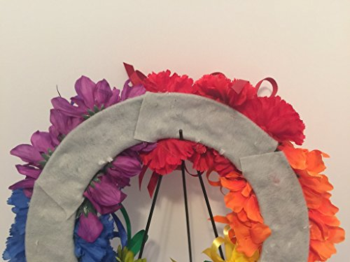 COLLEGE PRIDE - SPIRIT - LGBTQ - STUDENT ORGANIZATIONS - UNIVERSITY DIVERSITY GROUPS - GAY PRIDE - DORM - COLLECTOR WREATH - RAINBOW CARNATIONS, ZINNIAS, AND DAISIES - RAINBOW FLAG by Peters Partners Design (Image #7)
