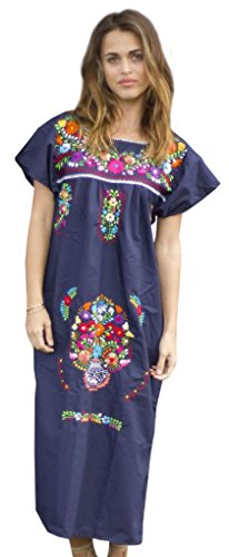 Cotton Peasant Dress - Liliana Cruz Embroidered Mexican Peasant Dress (Navy Size Small)
