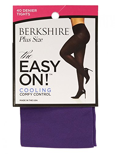 Berkshire Women's Easy On 40 Denier Plus Size Tights, Purple, Queen Petite