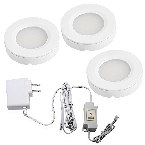 Set of 3 LED Under Cabinet Lighting Kit - 2Watt Warm White LED Puck Lights with UL-listed Power Adapter for Closet/Kitchen Cabinet/Under Counter Lighting (Surface & Recessed (2w Accent Led)