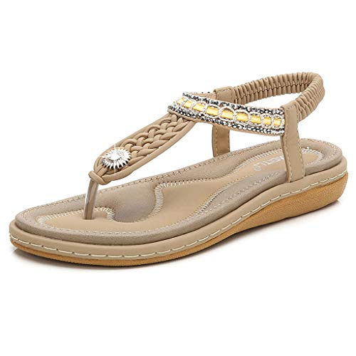 HAPPYSTORE Women Sandals Summer Crystal Cross Strap Woven Ankle Toepost Flat African Roman Shoes Beige