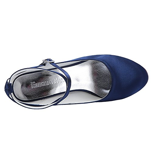 Fibbia Sposa HC1808 Scarpe da Marina alla Tall Alto Punta Blu Chiusa Incrociato Elegantpark Pompe Cinturino Donna Heel Satin Caviglia 7awd6q1